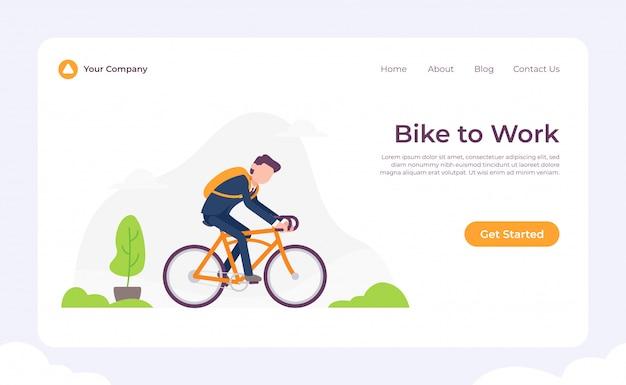 Bike to work landing page Premium Vector