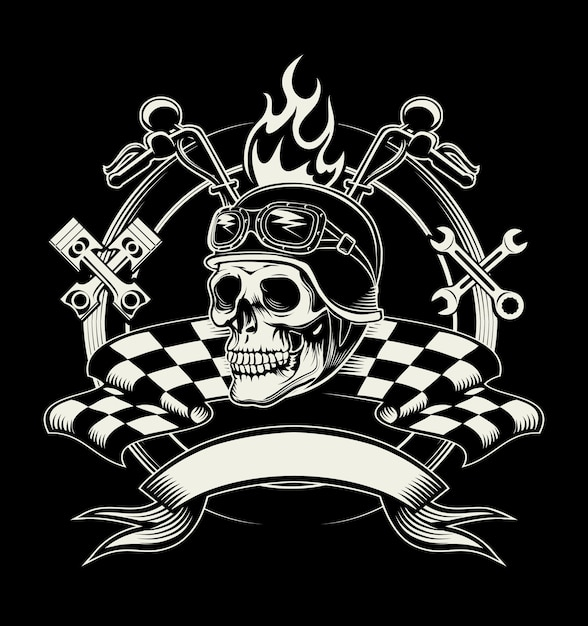 Biker emblem with skull or dead motorcycle racer Free Vector
