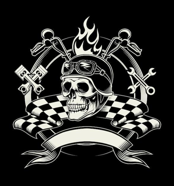 Emblema del motociclista con teschio o motociclista morto Vettore gratuito