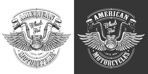 Biker emblem with wings Free Vector