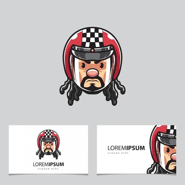 Biker head mascot and business cards Premium Vector
