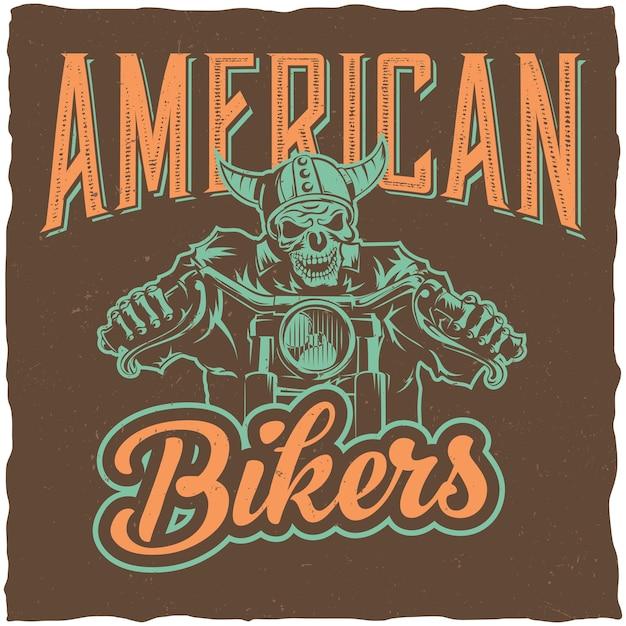 Design dell'etichetta del motociclista con illustrazione dello scheletro in sella alla moto Vettore gratuito