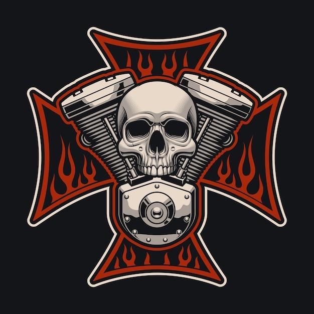 Байкерский кросс с мотоциклетным двигателем. эту иллюстрацию можно использовать как логотип, одежду и во многих других целях. Premium векторы