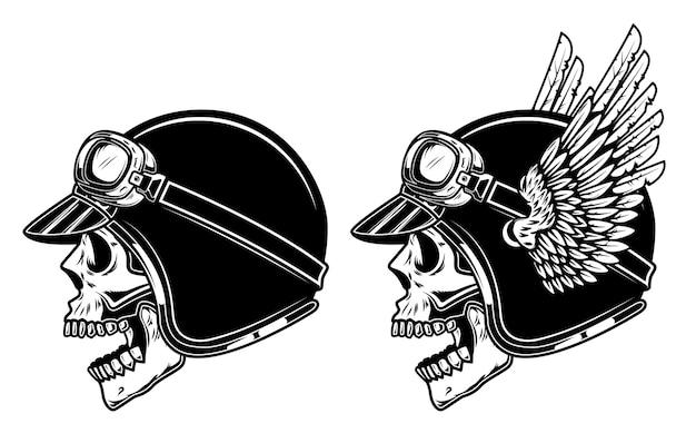 날개 달린 경주 헬멧에 자전거 타는 사람 두개골. 프리미엄 벡터