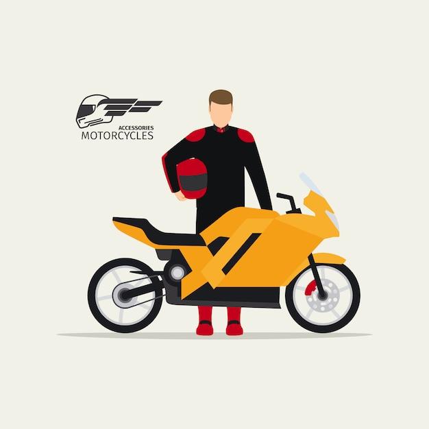 Biker standing with motorcycle Premium Vector