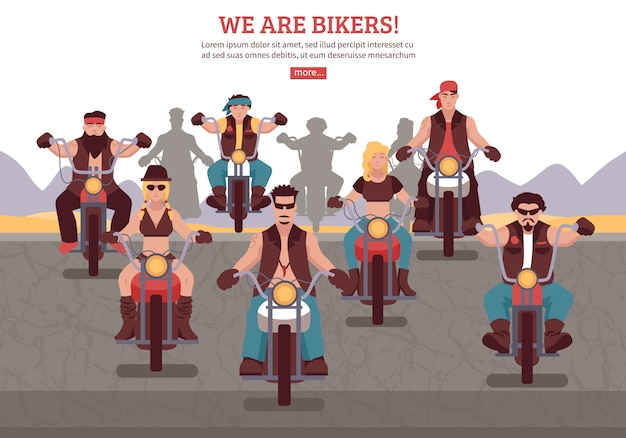 Bikers background illustration Free Vector