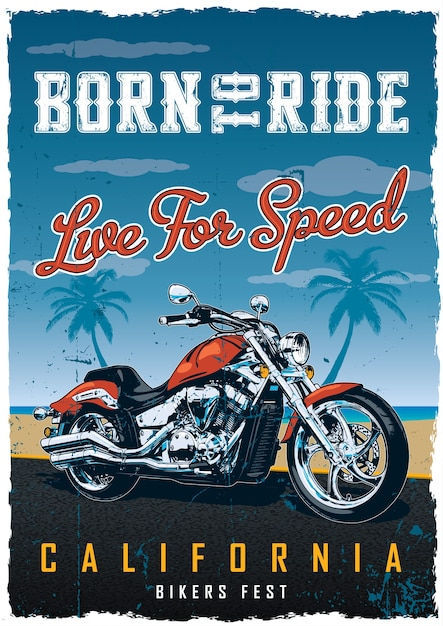 Bikers fest poster with motorcycle on the road with beach Free Vector