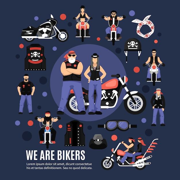 Bikers icons set Free Vector