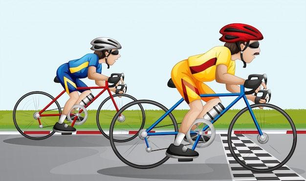 A biking race Free Vector