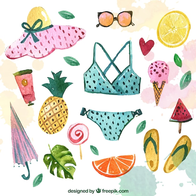 Bikini collection and watercolor summer accessories Free Vector
