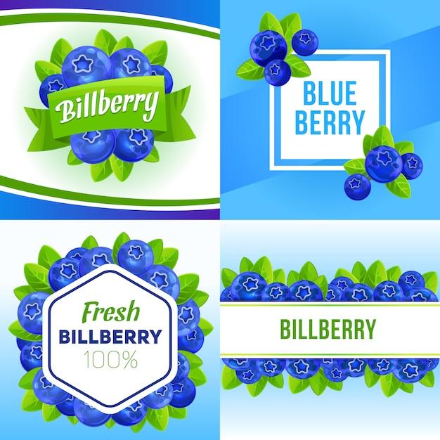 Bilberry banner set, cartoon style Premium Vector
