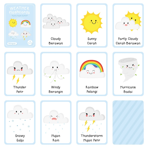 Bilingual weather flashcards vector design Premium Vector