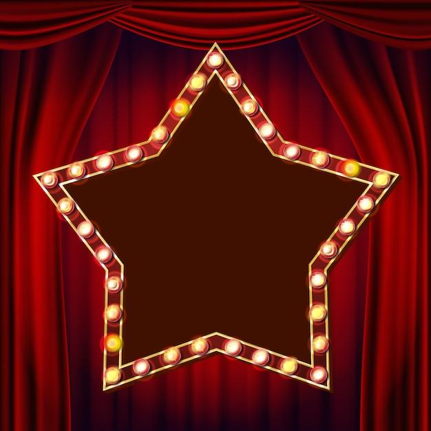 Ретро звезда billboard вектор. красный театральный занавес. сияющий свет доска объявлений. 3d электрический светящийся звездный элемент. урожай золотой неоновой подсветкой. карнавал, цирк, казино стиль. иллюстрация Premium векторы