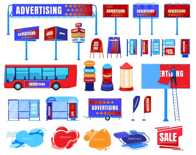 Billboard advertising vector illustration set. cartoon flat business advertised board template marketing promotion ad on road street bus, advertiser Premium Vector