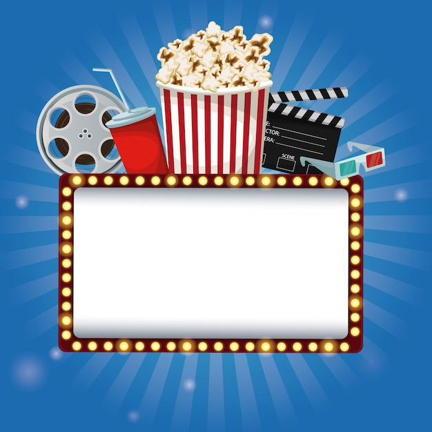 Billboard Banner With Elements Film Movie Premium Vector
