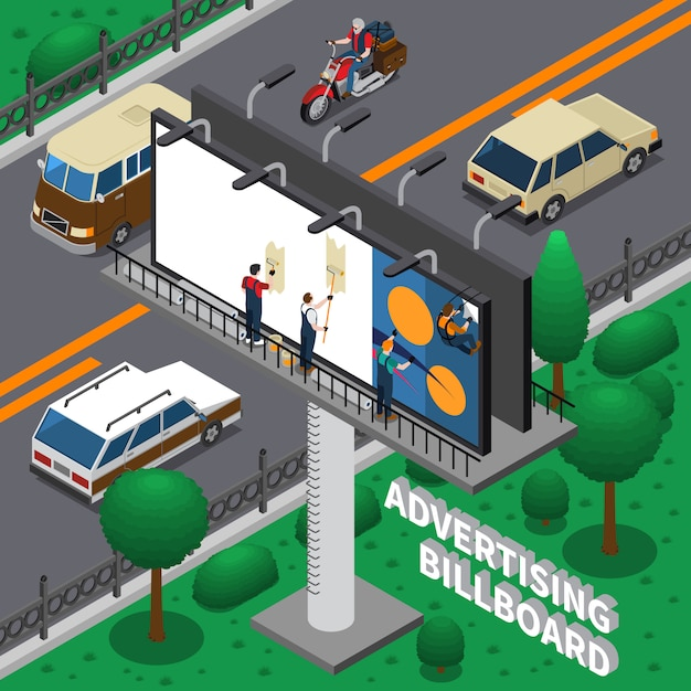 Billboard isometric composition Free Vector
