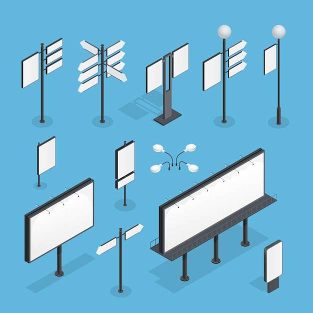 Billboard isometric set Free Vector