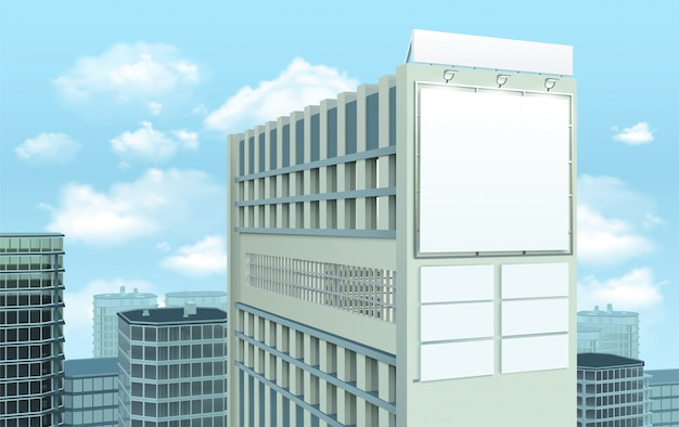 Billboard on building cityscape состав Бесплатные векторы