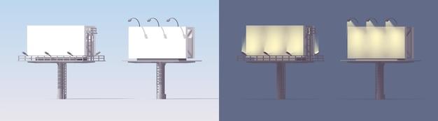 Набор рекламных щитов. макет. день ночь. 3d рекламные щиты на светлом фоне. Premium векторы