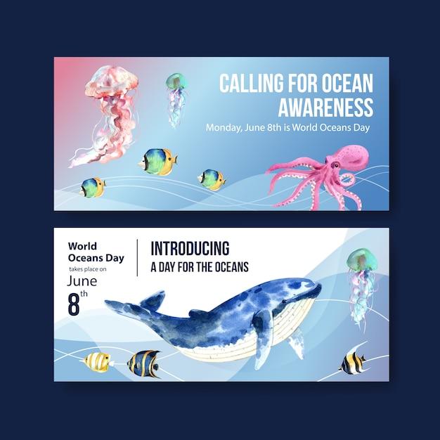 Progettazione del modello del tabellone per le affissioni per il concetto di giornata mondiale degli oceani con il vettore dell'acquerello degli animali marini Vettore gratuito