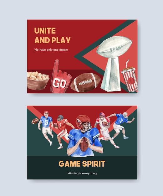 水彩ベクトルイラストを宣伝およびマーケティングするためのスーパーボウルスポーツコンセプトデザインの看板テンプレート。 無料ベクター