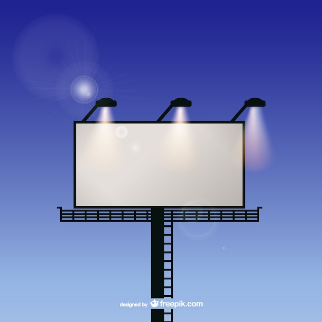 Billboard with spotlights and sky