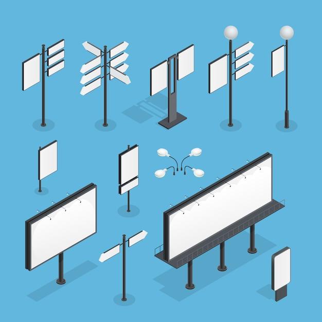 Billboard изометрические набор Бесплатные векторы