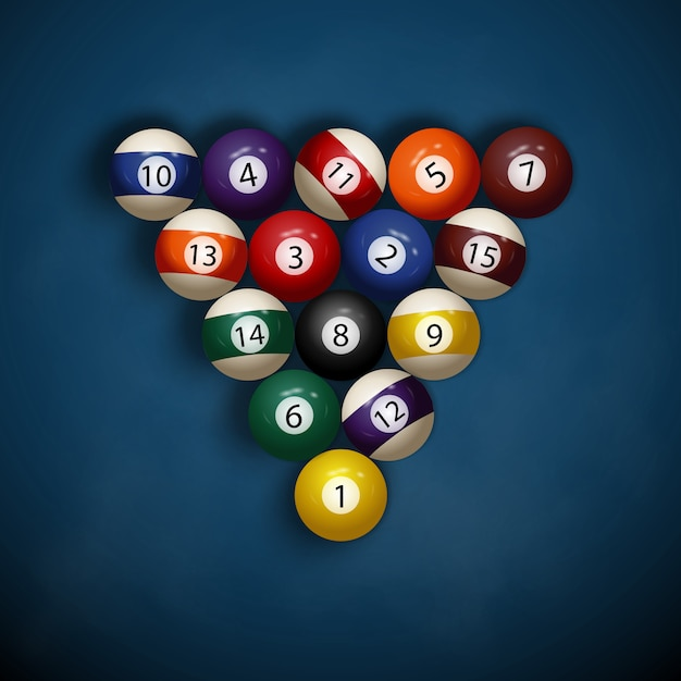 Billiard balls on blue cloth Premium Vector