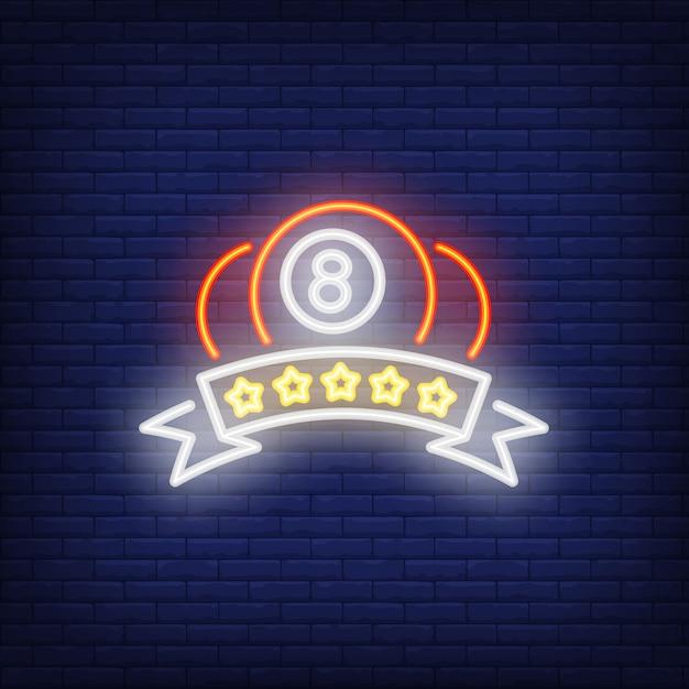 Billiard balls and rating neon sign Free Vector
