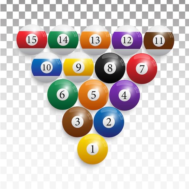 Billiard balls in a wooden rack. Premium Vector