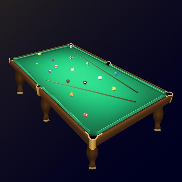 Бильярдные шарики расположены на реалистичном бильярдном столе с подсказками. Premium векторы