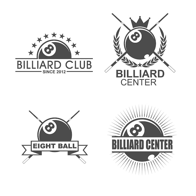 Eight Ball Logo Billiards Clipart with Ornate Wings Vector ...   Billiards Logo