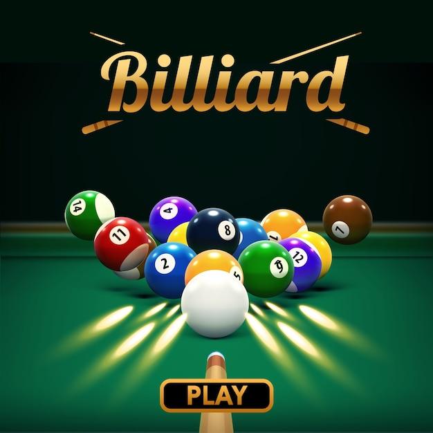 Billiard table front view balls sport theme Premium Vector
