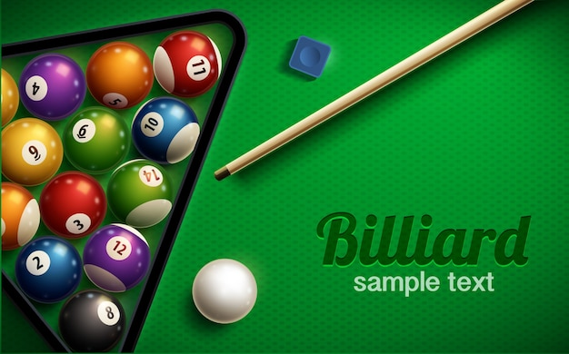 Billiard table top view balls sport theme Premium Vector