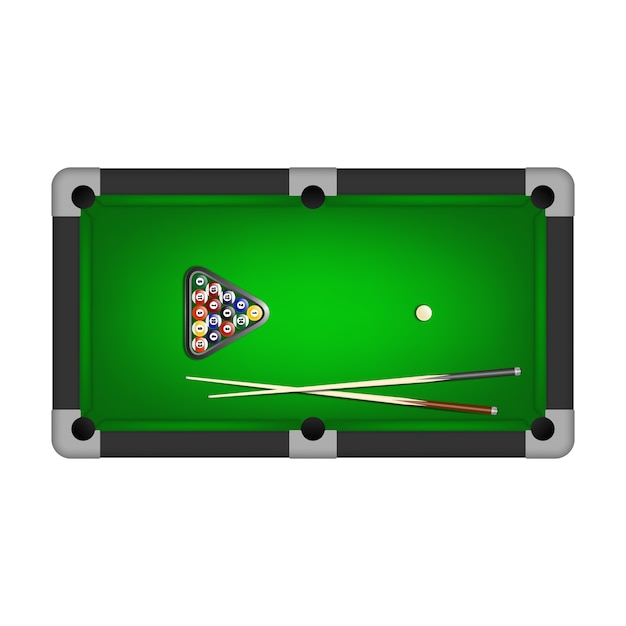 Бильярдные шары, треугольник и два кия на бильярдном столе. Premium векторы
