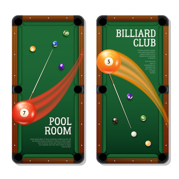 Billiards banners set Free Vector