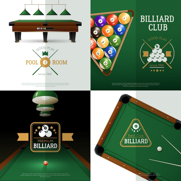 Billiards concept icons set Free Vector