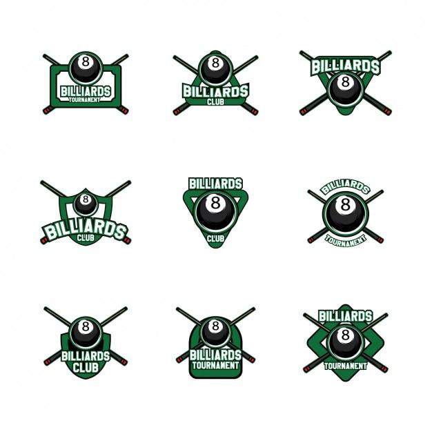 Бильярд дизайн шаблоны логотипов Бесплатные векторы