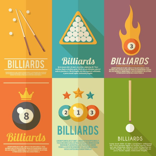 Billiards poster set Free Vector