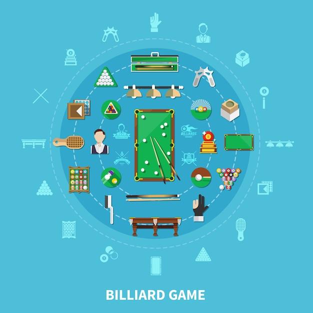 Бильярдная круглая композиция на синем фоне с игроком, спортивным инвентарем, игровыми эмблемами, чистящими принадлежностями Бесплатные векторы