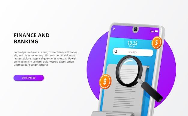 Проверка оплаты счетов аудит бухгалтерского учета с 3d телефоном, деньгами и увеличительным стеклом Premium векторы