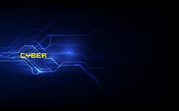 Технология будущего двоичной платы, синий фон концепции кибербезопасности, абстрактный высокоскоростной цифровой интернет. Premium векторы