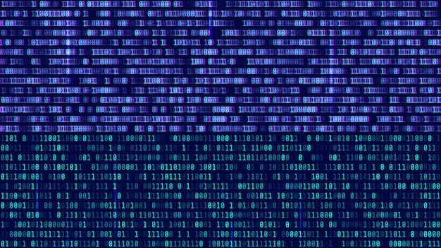 Binary code, blue digits on the computer screen Premium Vector