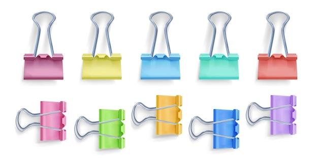 Binder clip illustration of 3d realistic metal color foldover or foldback clip for paper Free Vector