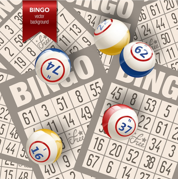Bingo background with balls and cards Premium Vector