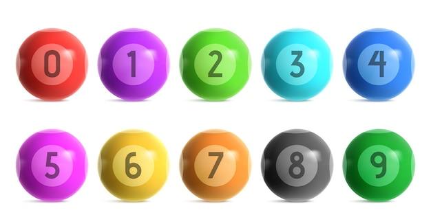 0에서 9까지의 숫자가있는 빙고 복권 공. 로또 키노 게임 또는 당구에 대 한 빛나는 컬러 볼의 현실적인 집합 벡터. 카지노 도박 흰색 배경에 고립에 대 한 3d 광택 분야 무료 벡터