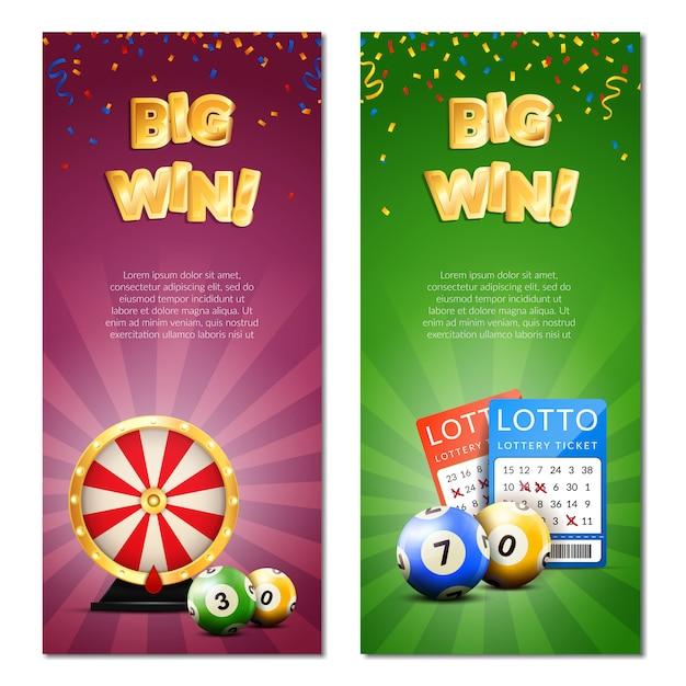 Бинго лотерея вертикальные баннеры Бесплатные векторы