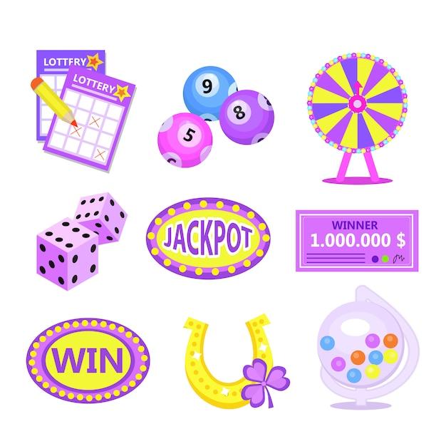 ビンゴ宝くじのアイコンを設定します。宝くじは、馬蹄形の宝くじ、宝くじのドラム、チケット、運命の輪、チェックを獲得します。モダンなイラスト Premiumベクター