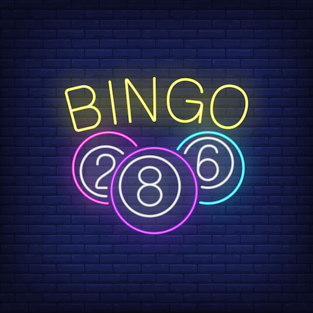 Bingo neon lettering and balls with numbers. Free Vector