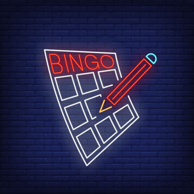 Bingo neon lettering on card and pencil. Free Vector